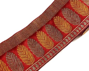 Brocade Silk Border - Mustard, Gold and Red Tree Pattern Border Lace / Ribbon