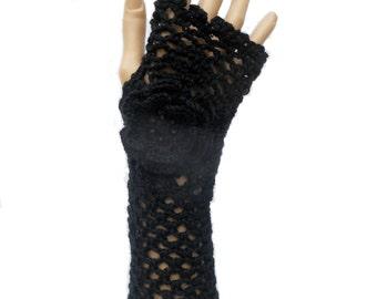 Irish Lace Crochet Fingerless Gloves Hand Warmers Merino Wool Soft Romantic Vintage Style Black