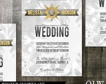 Winter Snowflake Wedding Invitation-Digital Printables-Winter wonderland snowflake grey, white and gold design