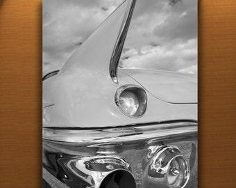 Cadillac Car Art, Tail Fins, Black and White, Car Photography, Vintage Cars, Automotive Art, Automobile Art, 1950s Cars, 50s Cars, Car Print
