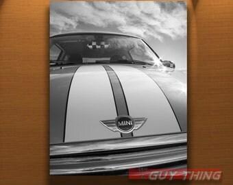 Mini Cooper Car, Art Photograph, Boyfriend Gift, Black and White, Automobile Art, Car Art, Mini Cars, Vertical Art, Vertical Print