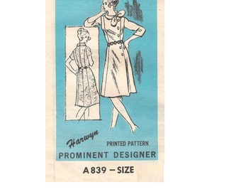 Sewing Pattern 1970s Prominent Designer A839 Harwyn Retro Style Asymmetrical Off Side Button Front Dress Plus Size Bust 41
