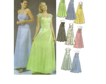 Prom Bridesmaid Formal Gown Dress Simplicity Sewing Pattern Full Skirt Fitted Bodice Open Back Corset Bustier Top B Plus Size Bust 34-40