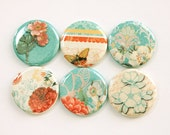 Flower Magnets, Turquoise, Orange, Floral magnets, Nature Magnets, button magnets, Flowers, Floral, Kitchen Magnets, stocking stuffer (3376)