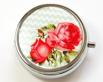 Flower Pill Case, Pill Case, Roses, Chevron, Pill Container, Floral, Gift for her, gift for mom, Candy container, mint case (2945)