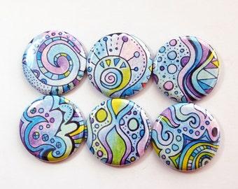 Fridge Magnets, Magnet set, Magnets, button magnets, Kitchen Magnets, Abstract Design, Blue, Purple, Green, Locker Magnets (3654)