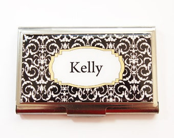 Personalized Business Card Case, business card holder, Custom Gift, Personalized, card case, Custom Case, Damask, Black White (3723)