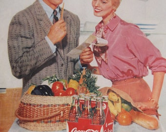COCA-COLA AD Original 1950s Vintage Advertisement Kitchen Decor Restaurant Decor Vintage Coke Collection Ready To Frame