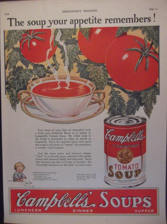 1928 CAMPBELLS SOUP AD Kitchen Print Vintage By