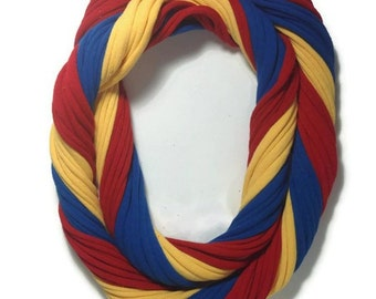 Kansas Jayhawks Loopy Infinity Scarf - Upcycled from Recycle Tshirts - Red Blue Yellow Football Jersey Necklace