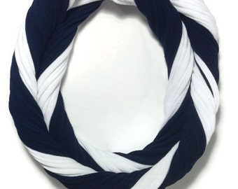 Penn State Loopy Infinity Scarf - Upcycled from Recycle Tshirts - Blue White Football Jersey Necklace