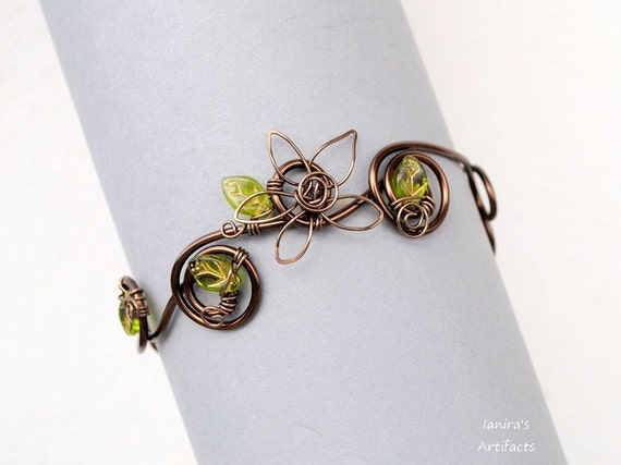 Leafy wire armband armlet upper arm cuff bracelet flower wedding bridal nature body jewelry bronze wire green leaf antique brass modern ooak