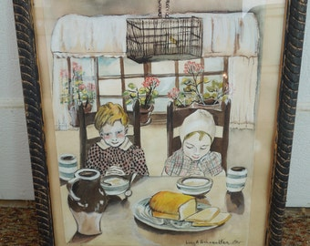 Folk Art Watercolor Painting Mid Century Painting Signed and Dated 1955