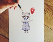 A4 Raccoon with a balloon birthday illustration print.