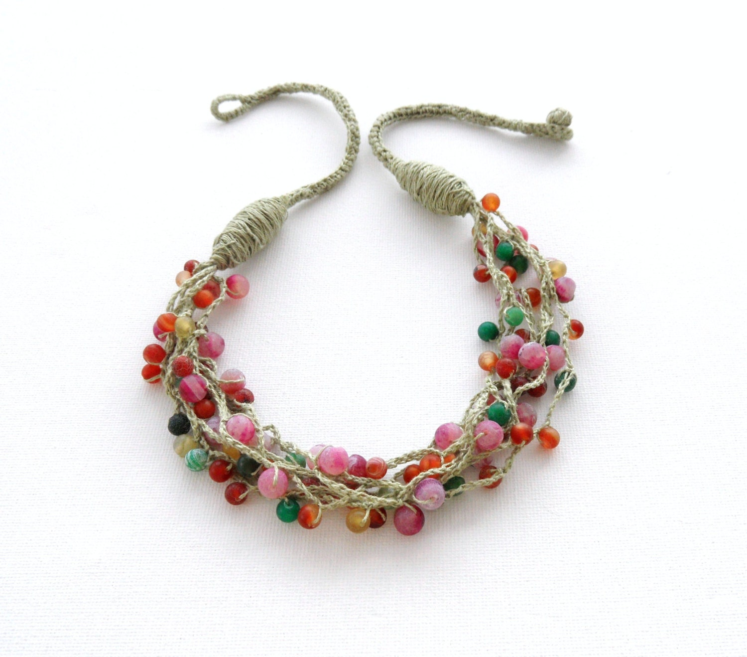 Linen Jewellery: Crochet Necklace Beaded Necklace Natural Linen Necklace