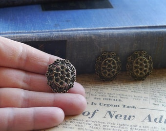 SALE--6 pcs Antiqued Bronze Heavy Duty Ornate Design Buttons Can Hold hinestones 25 x 22mm (BB849)