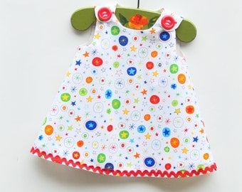 Twinkle Twinkle Little Stars - Aline Dress - Spring Summer Girls - Handmade USA - Picnic - Daily Wear - KK Children Designs