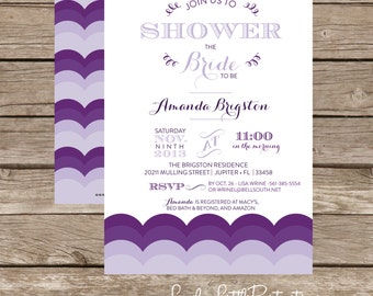 Printable Purple Ombre Bridal Shower Invitation -  Lovely Little Party