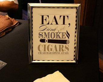 Printable CIGAR BAR sign  - You Choose Color - Lovely Little Party