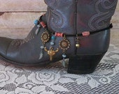 Cowgirls Western Boot Bracelet..Boot Anklet with Longhorn & Concho Charms..Genuine Black Suede Leather with Inside Clasp