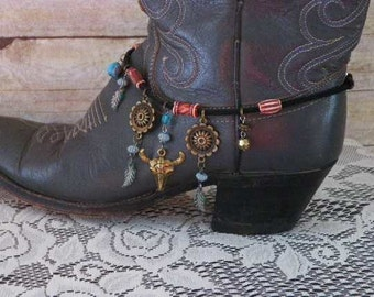 Cowgirls Western Boot Bracelet..Boot Anklet with Longhorn & Concho Charms..Genuine Black Suede Leather with Inside Clasp. Free US Shipping