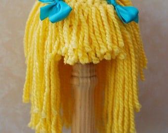 Yarn Hair Wig Yellow Blonde with Ribbons Goldilocks