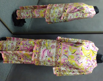 Vintage 1960's Pink Psychedelic Print Party Lounging Outfit