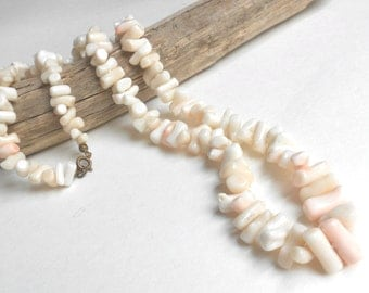 30s Art Deco Angel Skin Coral Necklace, Graduated Thick Branch Natural Vintage Coral, Soft Pink Coral Branch