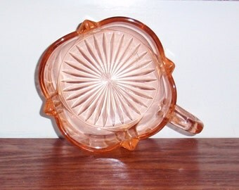DEPRESSION GLASS NAPPY Heavy Handled Bowl Dish Peach Blo Pink Candy Nuts Mints Heavy Crystal Square Bottom Scalloped Excellent Condition