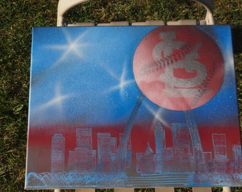 Baby Blue and Red St. Louis Cardinals Spray Painted Canvas
