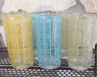 Vintage Starlyte Bar Drink Glasses Mid Century Barware Madrid Pattern Set of Six