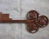 Wall decoration, Wall hanging, Key, Vine leaf, Wood carving - TO BE ORDERED