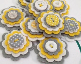 PRIMROSE x3 Handmade Layered Felt Flower Button Embellishments Brooche, Yellow, Grey and White
