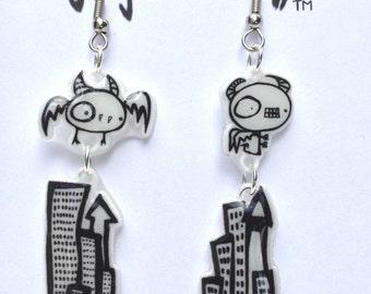 Monsters Over Cityscape Earrings - Shrinky Dinks - Shrink Plastic - Black and White