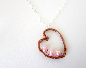 Copper Heart Necklace, Sterling, Copper, Pink Pearls