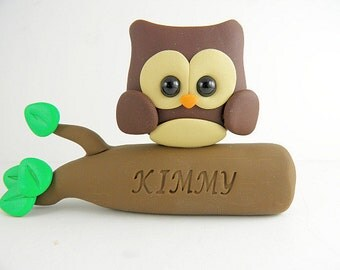 Personalized Owl Birthday Cake Topper Polymer Clay