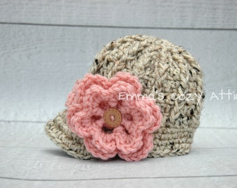 Newborn girl newsboy crochet newsboy visor brim hat in oatmeal and pink flower photography photo prop - MADE TO ORDER