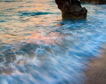 Beach wall art decor sea sunset landscape, large photo print of a sunset over sea, foamy water, boulders, paradise island, Greece