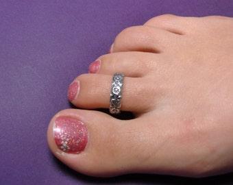 Sterling Silver Toe Ring - Sterling Rose Toe Ring - Handmade Silver Rose Toe Ring - Rose Toe Rings