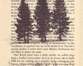 Typography Print, Book Art, Rustic Wall Art Print, Farmhouse Chic Decor, Tree Photography