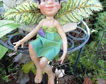 Garden Elf Fern  HANDMADE Sprite Faerie Fairy Doll