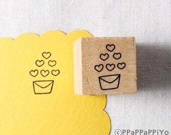 40% OFF SALE envelope & heart Rubber Stamp (20mm)