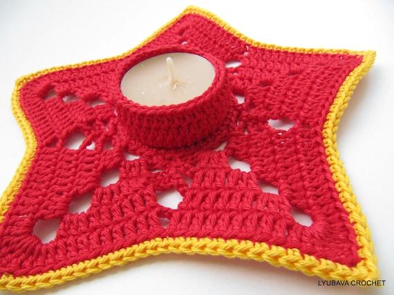 CROCHET PATTERN Tea Light Candle Holder, DIY Christmas Crochet, Home Decor, Christmas Gifts, Instant Digital Download Pdf Pattern No.61