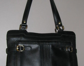 70's LEATHER Tote Bag // Vintage BLACK Purse Retro Chic Hipster Gold BUCKLES Double Strap Satchel