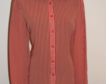 Earn Your Stripes / The VILLAGER Lipstick RED Nude STRIPED Blouse Button Down Shirt Top Polyester Deadstock New Old Stock nos Dayton's 80's
