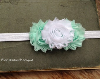 MINT and WHITE HEADBAND, Baby Headband, Newborn Headband, Mint/White Headband, Infant Headband, Toddler Headbands, Shabby Chic Headband