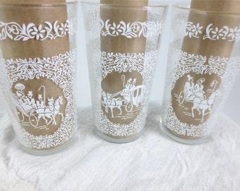 Set of 10 Hazel Atlas Beverage Glasses / 12 Oz. Monticello Glasses  /  Mid Century Glassware