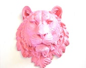 LITE PINK Large Faux Taxidermy Tiger Head Wall Hanging Wall Mount Home Decor: Tommy the Tiger in light pink
