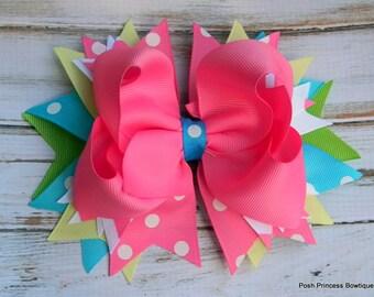 Girls hair bows Boutique hair bows hair bows Pink Polka dot hair bow stacked hair bow baby, toddler, girls