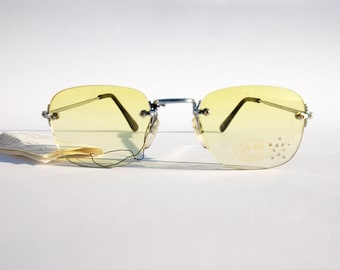 Authentic Vintage 90s Yellow Lens Sunglasses/ Squared Shades w Silver Tone Frame - NOS Dead Stock Steampunk /Grunge/Rave